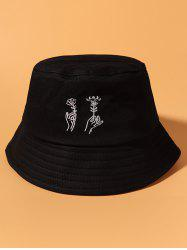 Hand Holding Flower Embroidery Bucket Hat -
