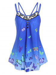 Lace Panel Butterfly Print Tank Top -