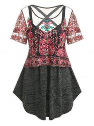 Plus Size Space Dye Crisscross Tank Top and Embroidered Mesh Top Set -