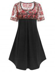Plus Size Paisley Embroidered Trapeze Dress -