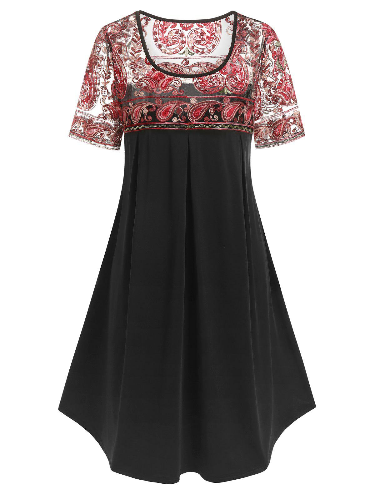 Fancy Plus Size Paisley Embroidered Trapeze Dress