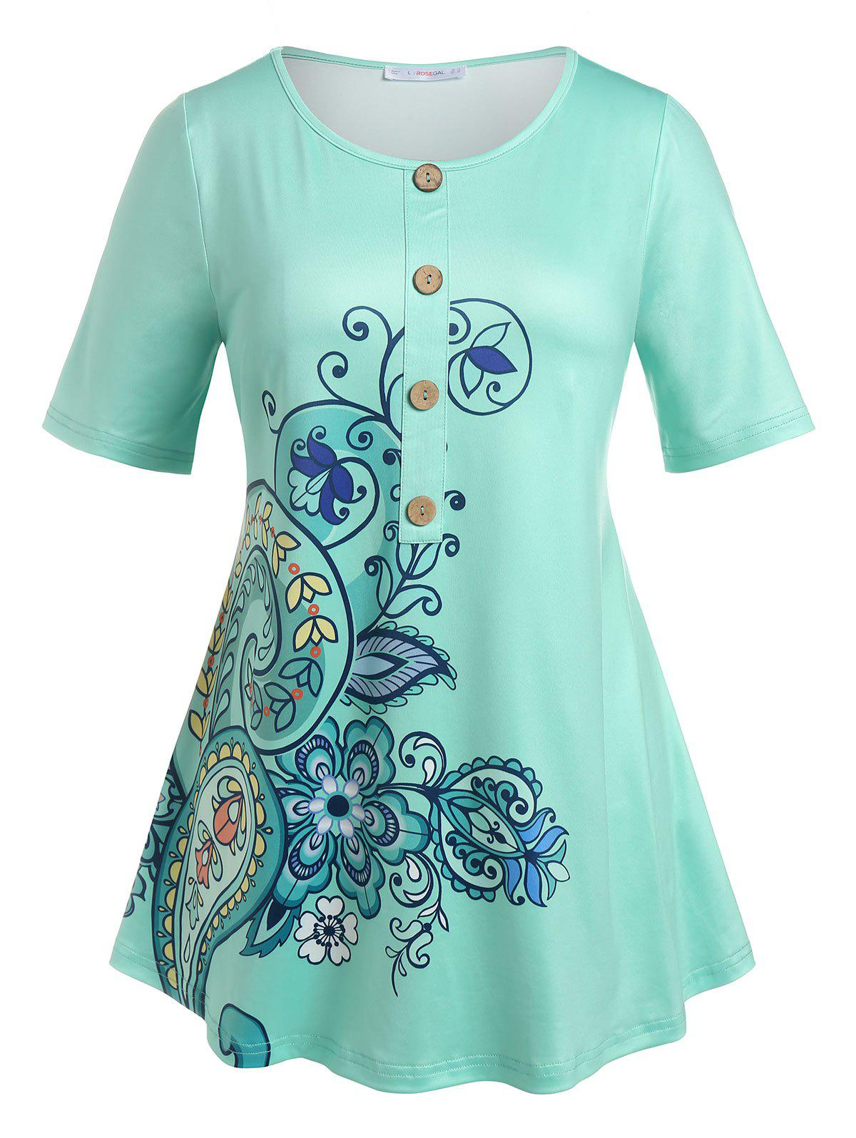 Outfit Plus Size Mock Button Paisley Print Tee