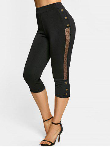 Lace Panel Mock Button Capri Leggings
