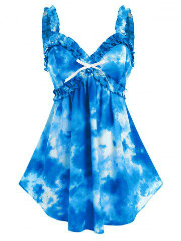 Plus Size Tie Dye Bowknot Frilled Backless Tank Top - BLUE - 1X