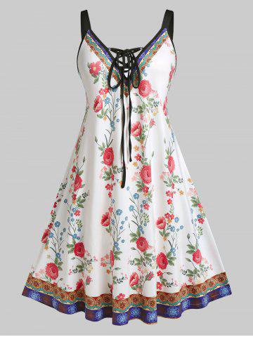 Plus Size Flower Lace-up Backless A Line Dress - WHITE - 3X