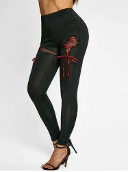 High Rise Lace Up Skinny Pants -
