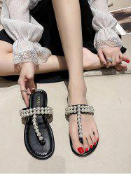 Faux Pearl Embellished T-Strap Sandals -