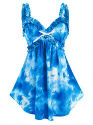Plus Size Tie Dye Bowknot Frilled Backless Tank Top -