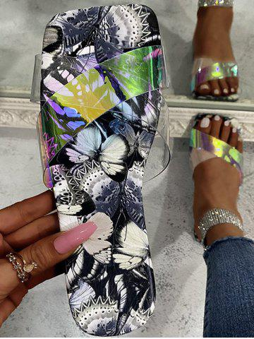 Cross Iridescent Strap Butterfly Sole Slides