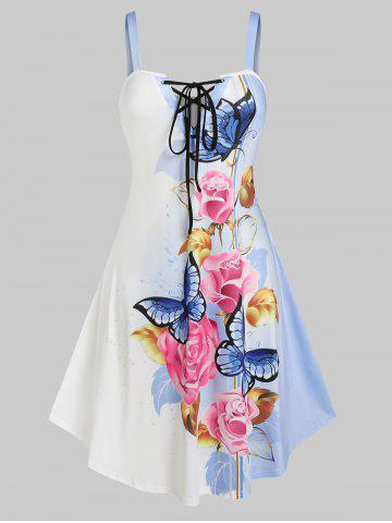 Plus Size Lace Up Floral Butterfly Print Sundress - WHITE - 3X