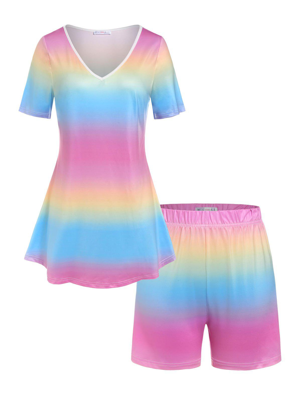 Outfits Plus Size Ombre Color Top and Shorts Pajamas Set