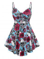 Plus Size Gothic Cinched Skull Rose Print Tank Top -