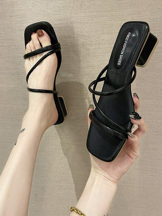 Shop Square Toe Strappy Chunky Heel Sandals