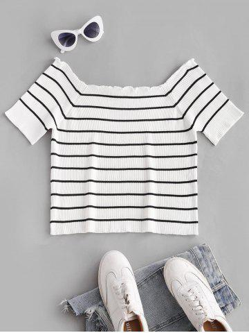 Plus Size Striped Lettuce Trim Ribbed Knitwear