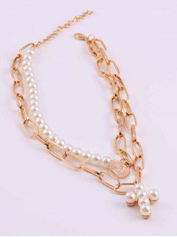 Portrait Coin Cross Faux Pearl Layers Necklace
