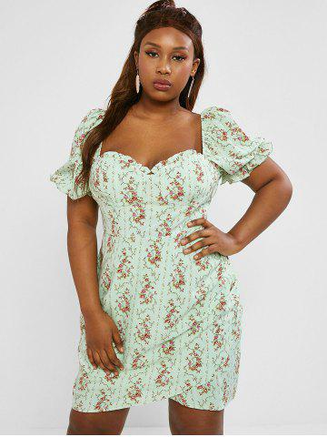 Plus Size Frilled Floral Puff Sleeve Ruched Bustier Dress - LIGHT GREEN - 4XL
