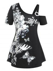 Plus Size Butterfly Flower Skew Collar Cold Shoulder Tee -