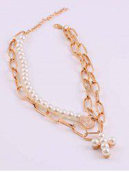 Portrait Coin Cross Faux Pearl Layers Necklace -