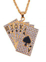 Rhinestones Playing Cards Hip Hop Charm Necklace -