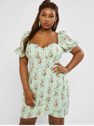 Plus Size Frilled Floral Puff Sleeve Ruched Bustier Dress -