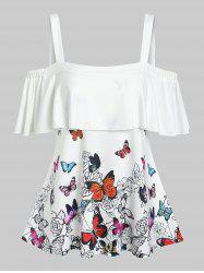 Cold Shoulder Ruffled Butterfly Print Tee -