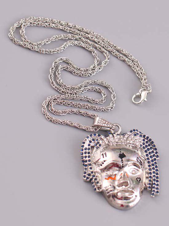 New Personalized Face Rhinestone Hip Hop Necklace