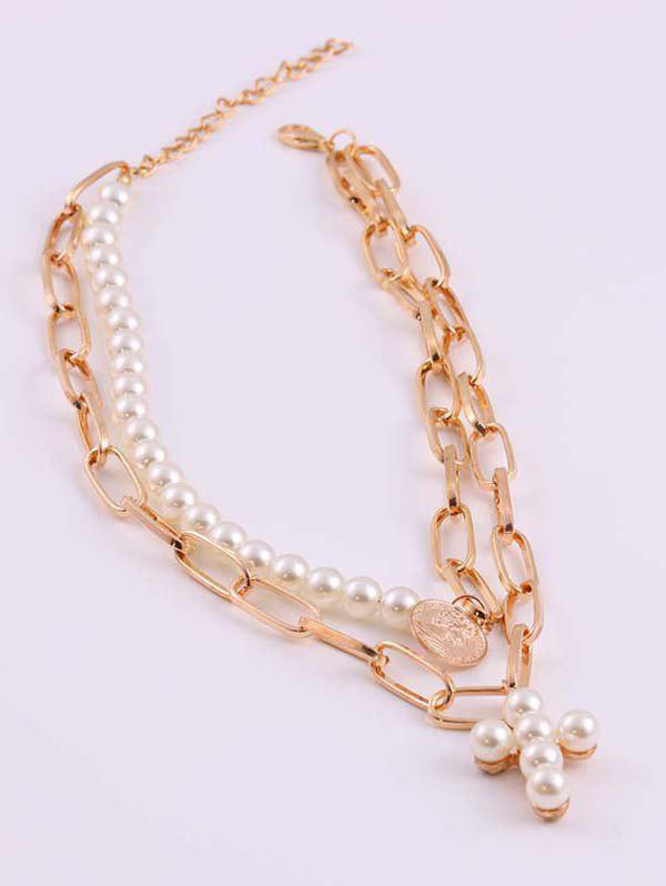 Store Portrait Coin Cross Faux Pearl Layers Necklace