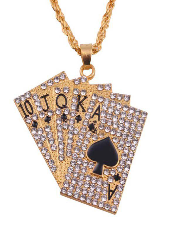 Outfit Rhinestones Playing Cards Hip Hop Charm Necklace