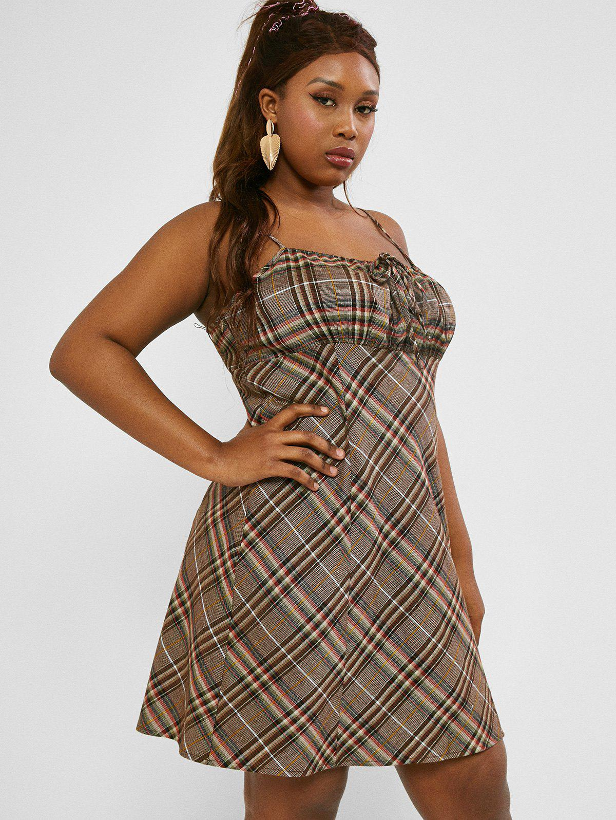 Affordable Plaid Tie Collar Ruched Plus Size Mini Dress