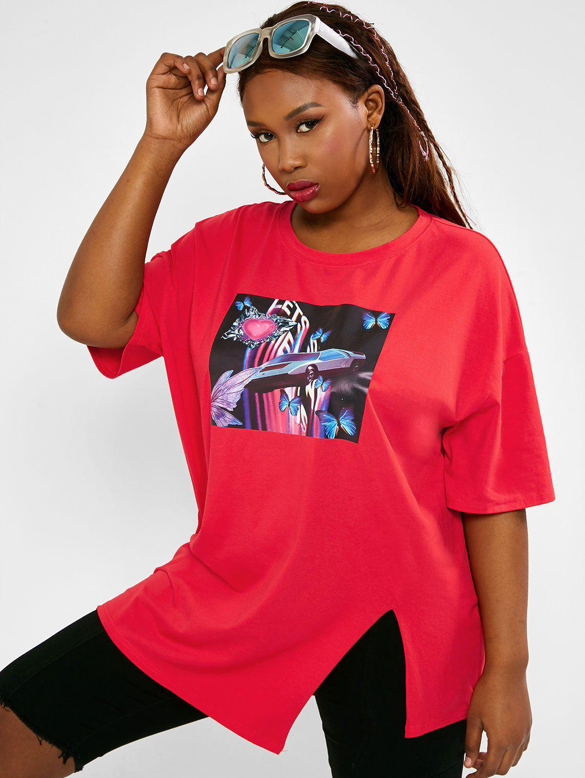 Affordable Butterfly Car Graphic Slit Boyfriend Plus Size Tee