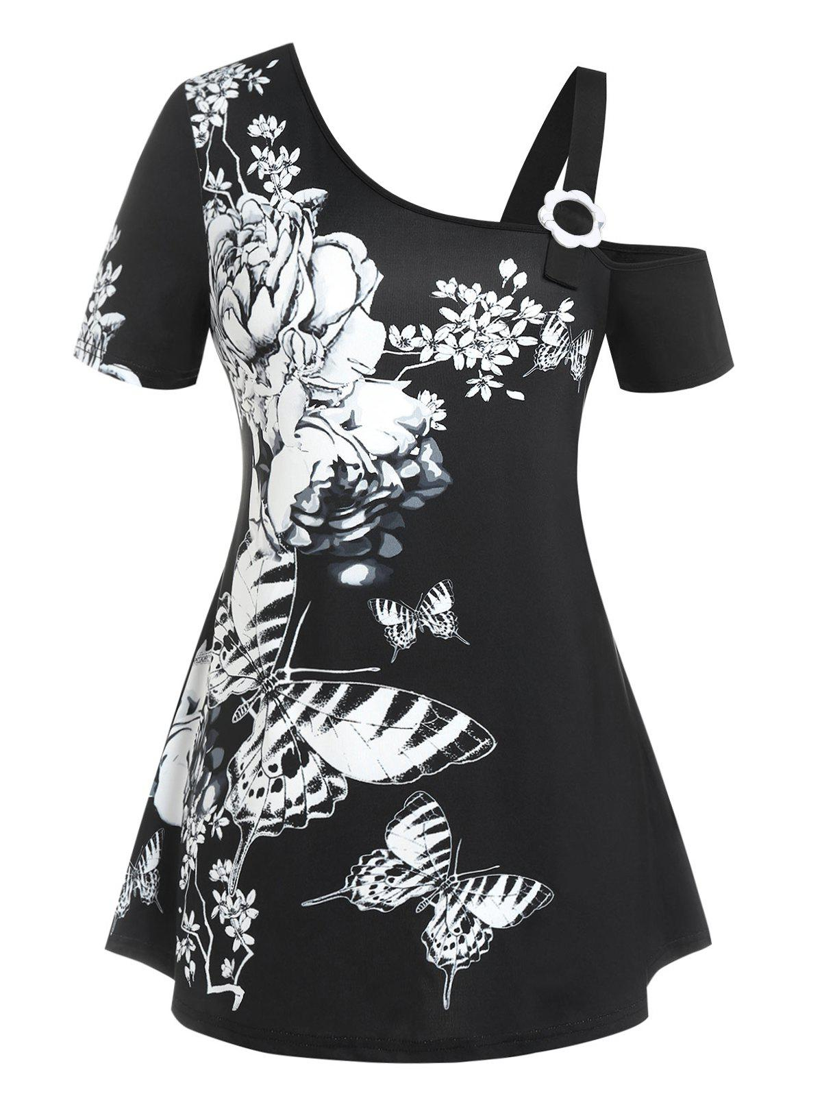 Fashion Plus Size Butterfly Flower Skew Collar Cold Shoulder Tee