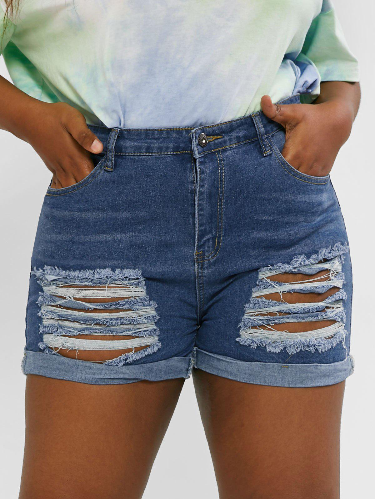 Outfit Plus Size Cuffed Ripped Denim Shorts