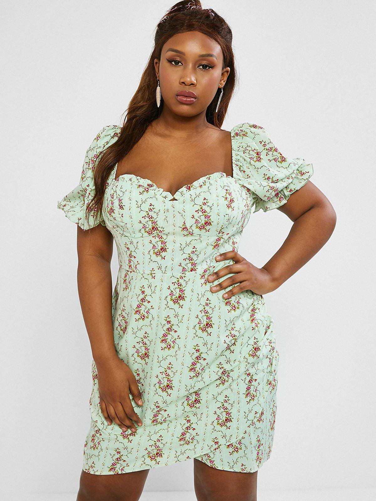 Discount Plus Size Frilled Floral Puff Sleeve Ruched Bustier Dress