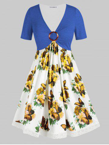 Plus Size Flower Butterfly Print Lace Insert O Ring Dress - BLUE - 1X