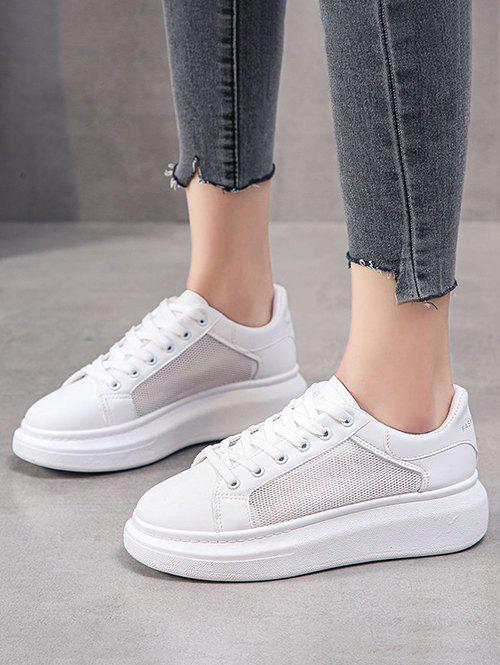 Latest Mesh Panel Platform Lace Up Sneakers