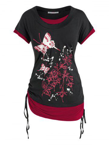Plus Size Butterfly Floral Print Faux Twinset Cinched Tee - DEEP RED - 4X