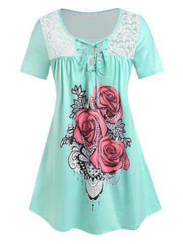 Plus Size Rose Print Lace Up Tee - LIGHT GREEN - L