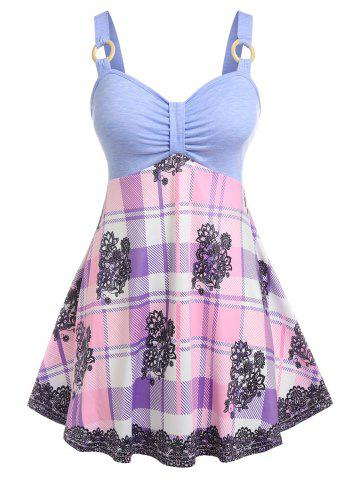 Plus Size Flower Plaid Skirted Ring Tank Top
