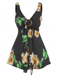 Sunflower Print Tied O Ring Tank Top -