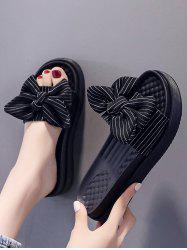 Stripes Bowknot Platform Outdoor Slippers -