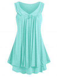 Plus Size Layered Front Twist Tank Top -