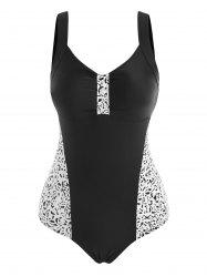 Leopard Panel Knotted One-piece Swimsuit -