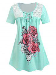 Plus Size Rose Print Lace Up Tee -