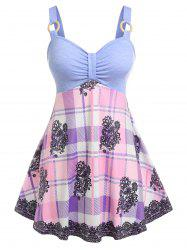 Plus Size Flower Plaid Skirted Ring Tank Top -