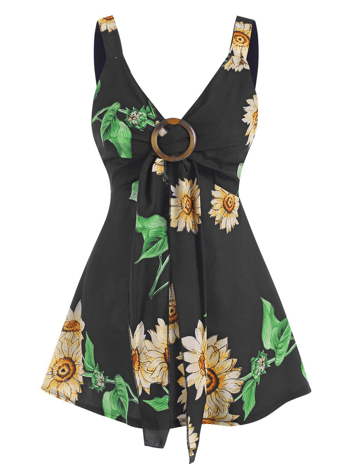Shops Sunflower Print Tied O Ring Tank Top