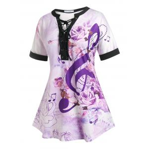 Plus Size Flower Lace-up Musical Notes Cuffed Sleeve Tee, Multi