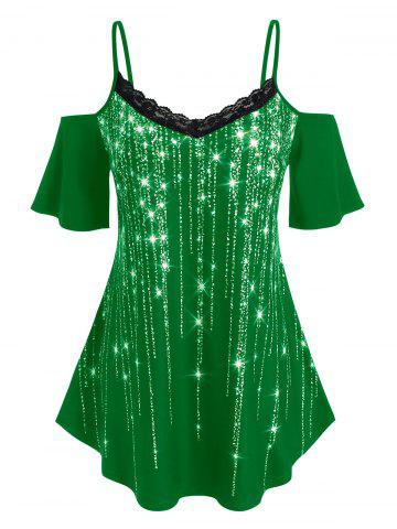 Plus Size Sparkling Fringe Printed Lace T Shirt - DEEP GREEN - 2X