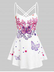 Strappy Butterflies Printed Cami Tank Top -