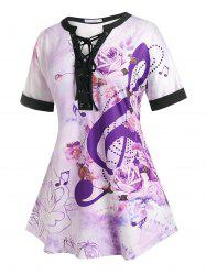 Plus Size Flower Lace-up Musical Notes Cuffed Sleeve Tee -