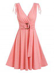 O Ring Cinched Shoulders A Line Dress -